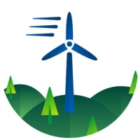 Depiction of a wind farm turning blade which is a source of renewable energy