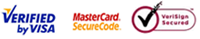 Verified by Visa, MasterCard SecureCode and VeriSign Secured