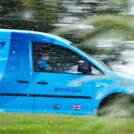 A side view of a British Gas van as it drives by
